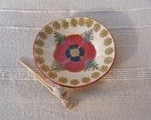 Red poppy bowl, Tapas dish, Trinket bowl with poppy painting and poppy pod pattern -  handbuilt stoneware