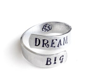 handmade jewelry, twist ring, silver adjustable ring, gift for her, aluminum wrap ring, dream big, inspirational quote