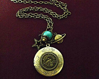 Bronze Locket Necklace,  Zodiac Symbol  Aquarius With Turquoise Bead And Charms Womens Gift  Handmade