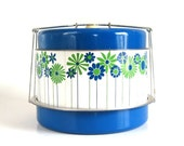 """Round Metal Picnic Basket """"Picnic Pal"""" 1960s Mod Blue Green White Daisy Flowers Insulated Mid Century Picnic Baskets"""