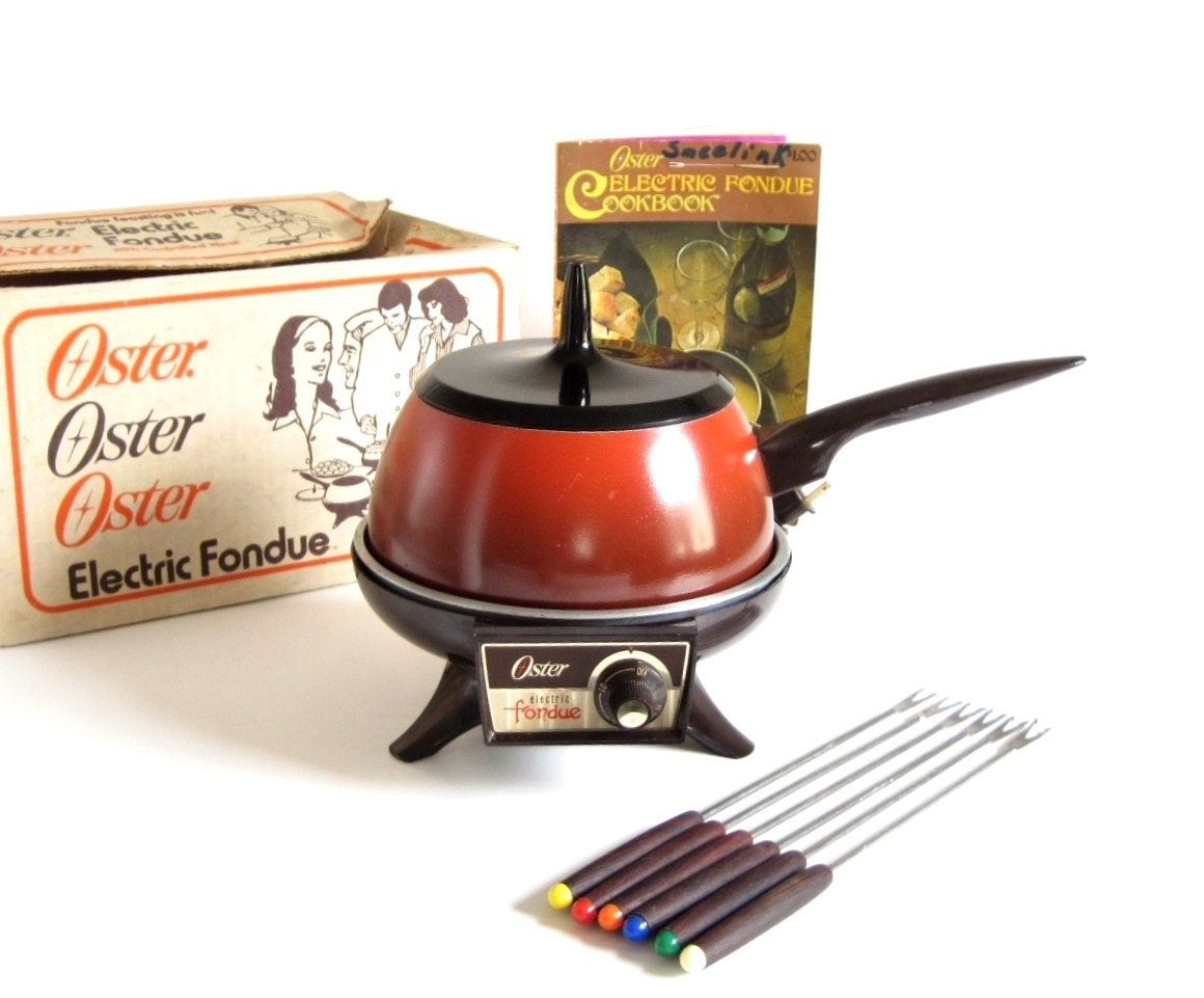 Oster Electric Fondue Pot Set With Fondue Forks Recipe Book