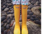 SLUGS Fleece Rain Boot Liners Turquoise With A Polka Dot Cuff, Tall Socks, Winter Fashion Accessory, Boot Cuff (Sm/Med 6-8 Boot)