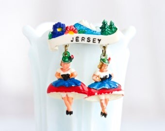 Miniature Dancing Ladies Celluloid Brooch - Souvenir from Jersey