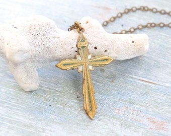 Mid Century Brass Cross Necklace - Antique Patina Pendant on Chain - Religious Jewelry