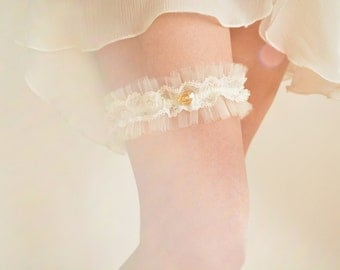 Off white tulle bridal garter, French lace and crystal heart