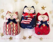 Fourth of July CAT Ornaments,  Americana, 3 Ornies Bowl Fillers, PATRIOTIC U.S.A. Party Favors Decorations Home Decor CharlotteStyle
