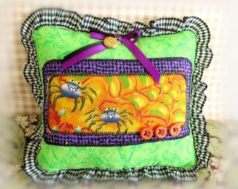 "Halloween  Pillow 6"" Spiders Print  Fall Autumn Halloween Primitive Soft Sculpture Handmade CharlotteStyle Decorative Folk Art"