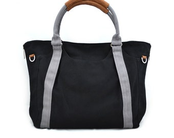 HOLLY // Black with Grey Handle / Lined with Grey Stripes / 080 // Ship in 3 days // Diaper bag / Shoulder bag / Tote bag / Gym bag / purse