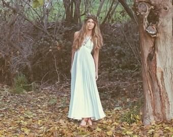 """Vintage Wedding gowns, Bohemian Wedding Dress, crochet halter, white pleated skirt- """"Eva"""""""