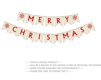 Merry Christmas Banner DIY Christmas Garland Print Your own Seasonal Banner Pdf Printable Downloadable Banner Minimal Beige Red Snowflakes