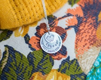 Hand Stamped Stacked Multi Charm Necklace- Your first breath took mine away