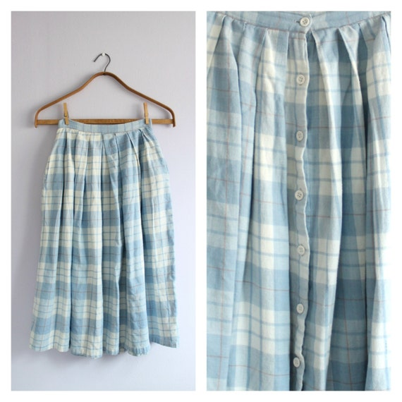light blue plaid flannel pleated flared midi skirt s by