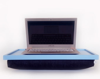 Light blue Laptop Lap Desk or Breakfast serving Tray - with black cotton Pillow