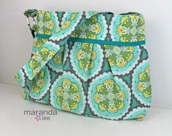 Stella Diaper Bag - Large - Seaside Medallion with Teal -READy to SHIP Nappy Bag  Adjustable Comfort Strap Stroller Attachment
