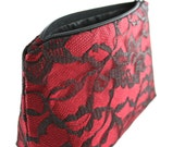 Bridesmaid Gift in Apple Red & Black Satin and Lace Makeup Bag