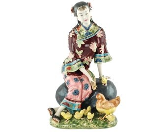 Vintage Chinese Woman Seated on Rock with Chickens