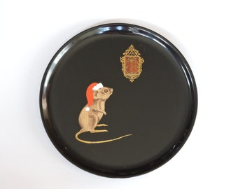 Vintage 1960's Couroc Christmas Mouse Serving Tray - Couroc of Monterey