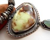 Handmade Southwestern Mixed Metalwork Citron Chrysoprase Brown Leather Pendant Necklace