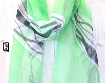 Silk Scarf Handpainted, Gift for her, Gift for Women, Green and White Scarf, Green Abstract Japanese Scarf, Silk Chiffon Scarf,  7x52 inches