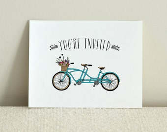 A Bicycle For Two / Folded Wedding Invitation / DIY Printable PDF Template