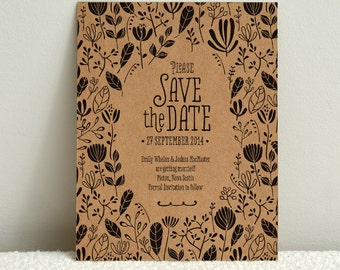 The Forest Folk - DIY Kraft Paper Wedding Save-the-Date - Printable PDF Template - Instant Download