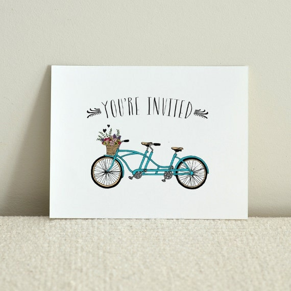 Bicycle For Two Folded Wedding Invitation - DIY Printable PDF Template