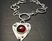 Valentines Sterling Heart Charm Bracelet with Red Garnet Stone and Handmade Filigree Chain