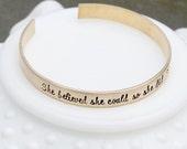 Gold Cuff Bracelet - Inspirational Saying Bracelet - Quote Bracelet - Gold Bangle Bracelet - Gold Stacking Bracelet - Song Lyric Jewelry