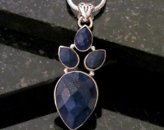 4 Faceted Lapis Lazuli Gemstones Set in Sterling Silver Pendant Necklace and Sterling Silver Chain