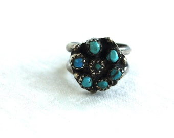 Turquoise Ring Size 5 Native American Zuni Sterling Silver Vintage Southwestern Cluster Ring Gift for Her