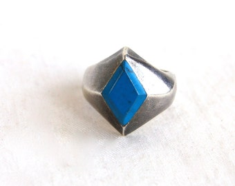 Blue Diamond Ring Siz 6.5 Modernist Mexican Sterling Silver Vintage Statement Jewelry