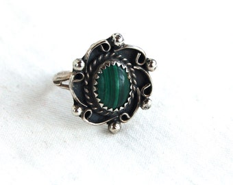 Malachite Ring Native American Size 4.75 Green Desert Bloom Vintage Southwestern Jewelry