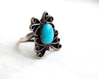 Turquoise Ring Native American Size 7 .75 Vintage Southwestern Sterling Silver Jewelry Abstract Butterfly