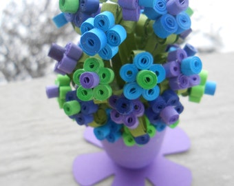 Mini Daisy Paper Bouquet. CHOOSE YOUR COLORS. Peacock, Purple, Blue, Teal, Green. Gift, Favor, Valentine, Anniversary.