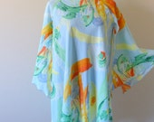 Vintage Silky Scarf Print Flowy Dress High Low / Caftan Colorful Watercolor Abstract / Swim Bathing Suit Cover Up Bohemian Boho Chic / S M L