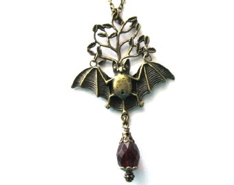 Bat necklace, tree necklace, garnet red drop crystal jewelry antique brass bronze bat goth necklace long chain with bat tree pendant
