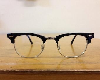 Browline Frames, Clubmaster Frames, Black and Chrome, sunglasses or prescription, NOS