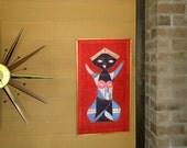 Vintage Mid Century Mod Natural Fiber Wall Art - Ethnic Woman