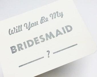 Will You Be My Bridesmaid - be my bridesmaid card - Pack of 5 bridesmaid cards
