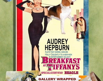 Beagle Print Fine Art Canvas - Breakfast at Tiffany's Movie Poster NEW COLLECTION by Nobility Dogs