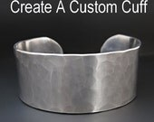 Custom Hand Stamped Bracelet - Personalized  - Silver Cuff - Hammered Metal