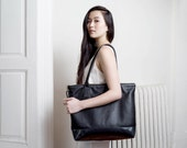CAROLINA Black Leather Tote Bag. Black Leather Shoulder Bag. Zippered Black Leather Tote Bag.