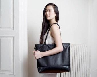 CAROLINA Black Leather Tote Bag. Black Leather Shoulder Bag. Zippered Black Leather Tote Bag.