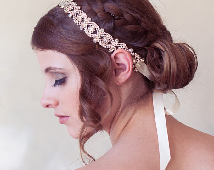 Rose Gold Art Deco Headband, Crystal Bridal Headband, Tie-on Crystal Headpiece, Rose Gold Wedding Hair Accessories, Bridal Hair Piece