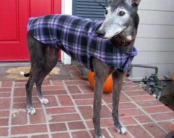 Greyhound Dog Coat & Jacket, XL Dog Coat, Purple, Black, Gray and White Plaid Fleece with Purple Fleece Lining