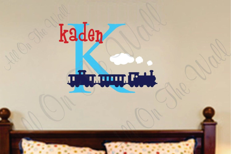 Train Wall Decal Boy Nursery Name Monogram Vinyl Lettering