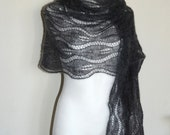 Anthracite hand knit lace shawl with glass beads, Graphite luxury evening stole