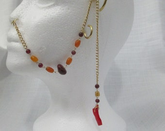 Carnelian, Coral, and Jade Beaded Nose Ring Chain