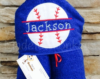 Personalized Baseball Hooded Towel