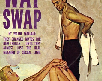 Three Way Swap - 10x16 Giclée Canvas Print of a Vintage Pulp Paperback Cover